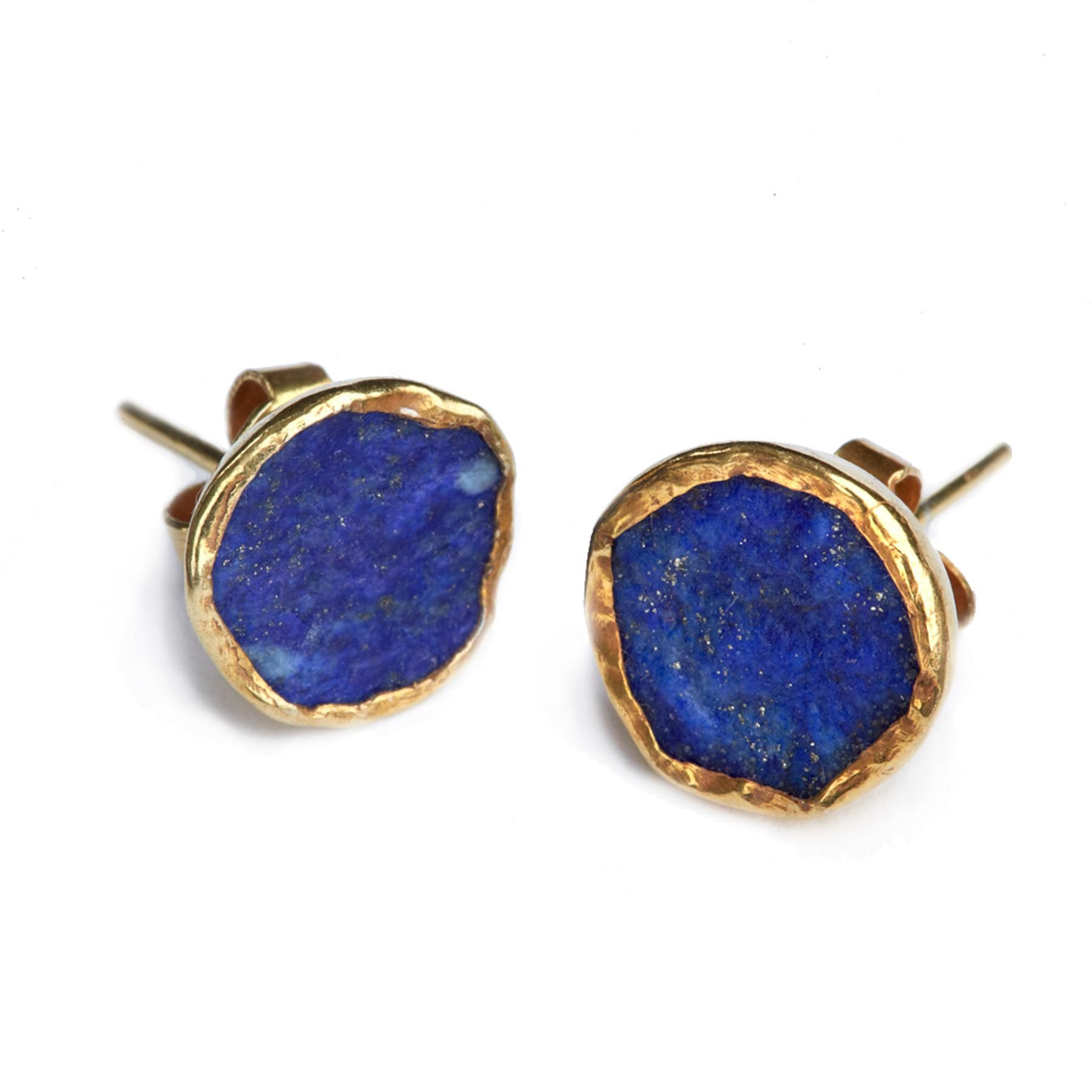 Far And Wide Collective Gold-plate Lapis Stud Earrings