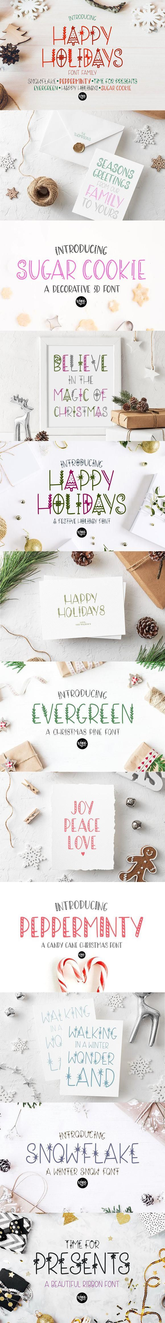 HAPPY HOLIDAYS Font Family for 15