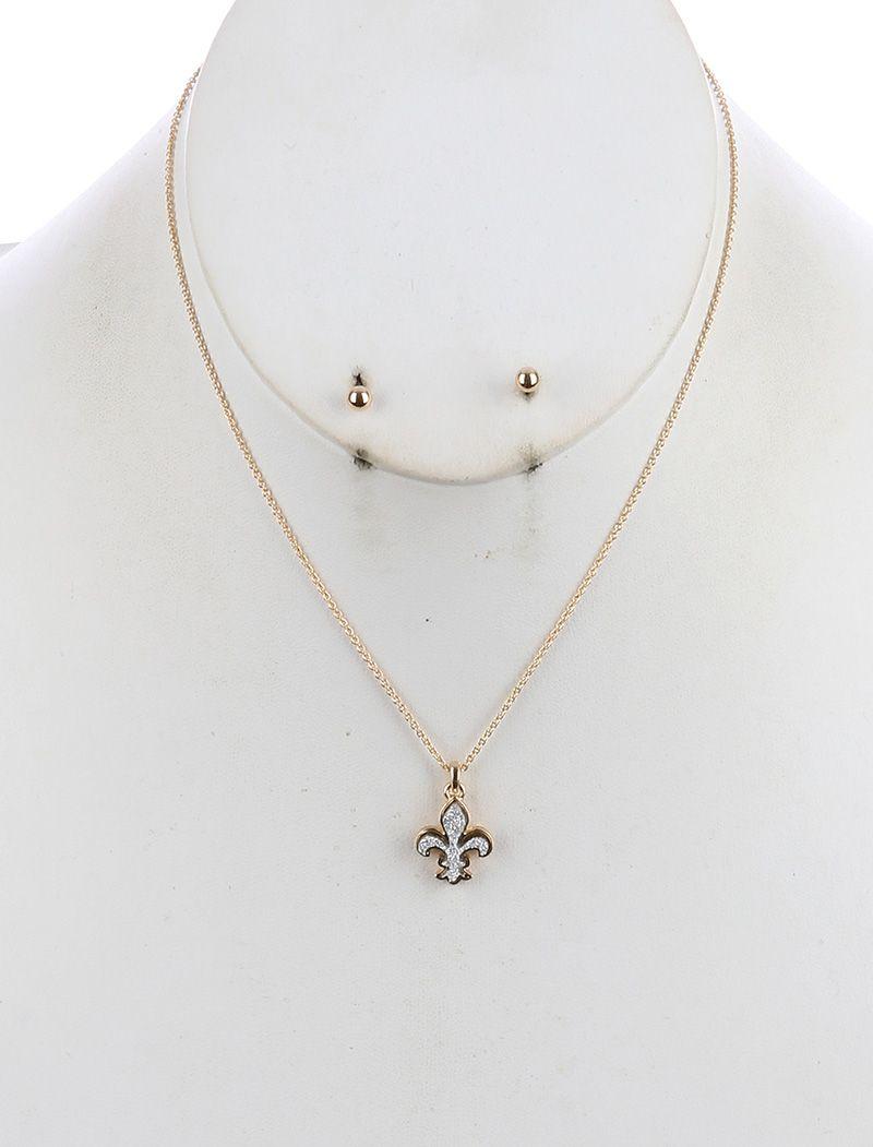 Fleur de lis charm chain necklace and earring set stellasaksa