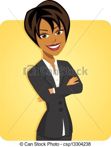 Vectors Of Cartoon Of Black Business Woman Posing With Yellow