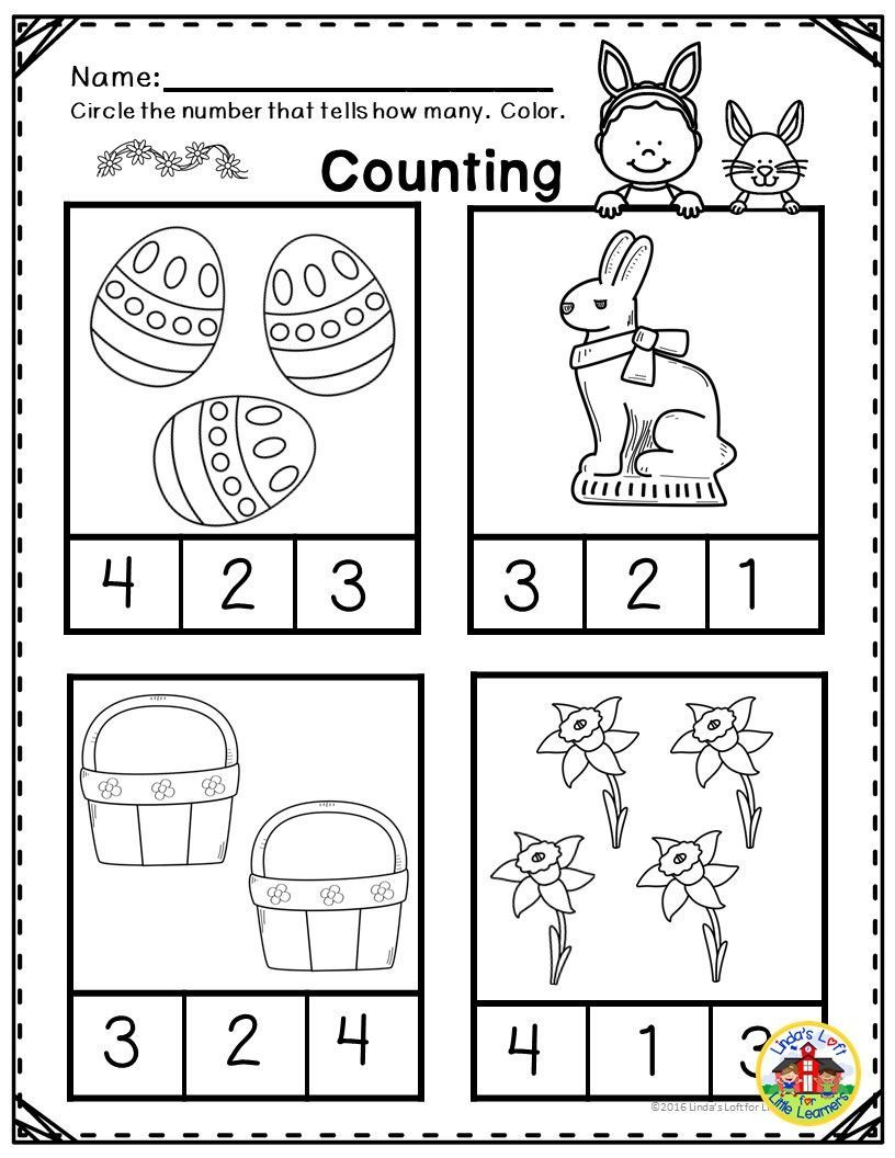 Easter Math Printables For Preschool Reinforce Numbers And Counting To 10 And Other Preschool Math Co Easter Math Easter Math Worksheets Easter Math Activities