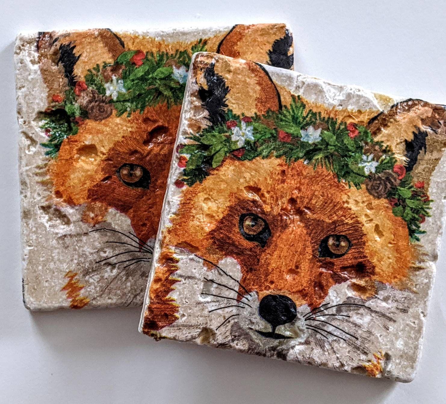 Cute red fox stone art drink coaster rustic home decor