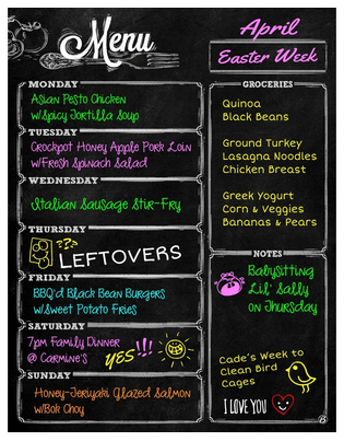 The Cutest Menu Boards On Amazon Weekly Chalkboard Menu Chalkboard Menu Chalkboard