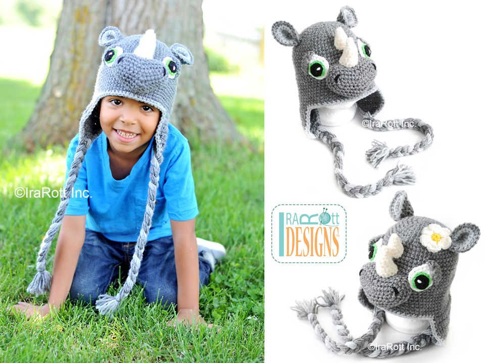 Rhinoceros Rhino Animal Hat Crochet Pattern by IraRott | H A T S ...