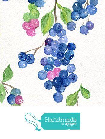 Blueberries Watercolors Painting Original Art 5 X 7 Fruit Watercolor Original Watercolor Painting