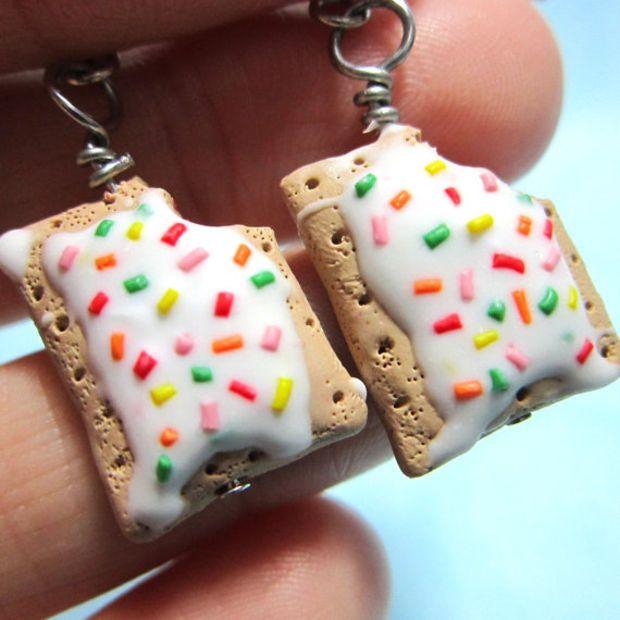 Strawberry Poptart earrings Cute food jewelry by TrenoNights