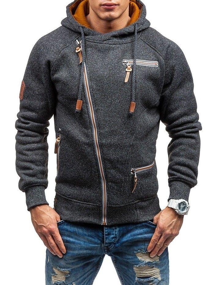 Men Hooded Sweater Personality Side Zipper Black Gray - Gray - 4C54395422 Size S