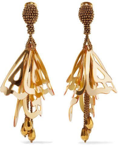 Gold-plated, Swarovski Crystal And Resin Earrings - One size Oscar De La Renta