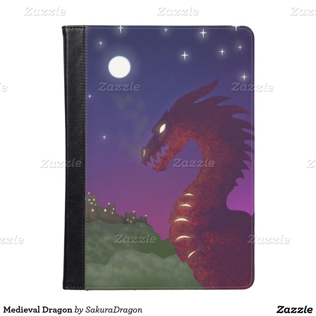 Medieval Dragon Ipad Folio Case #dragon #fantasy #castle #moon #sunset