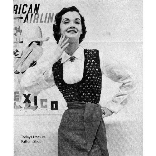 Vintage U Neck Knitted Vest Pattern Knitted Vests Pattern Vintage