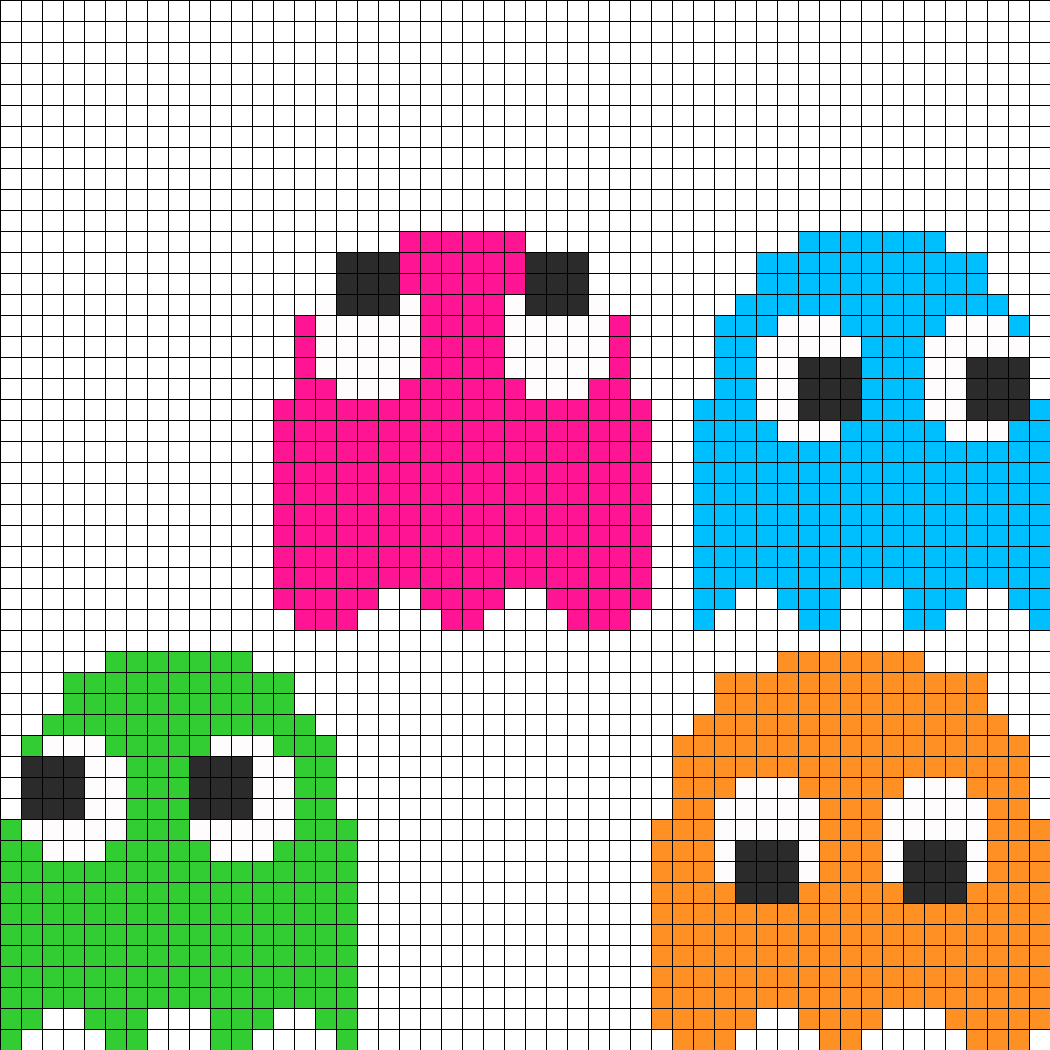8bit Pacman Ghosts Pt1 Perler Bead Pattern Bead Sprites