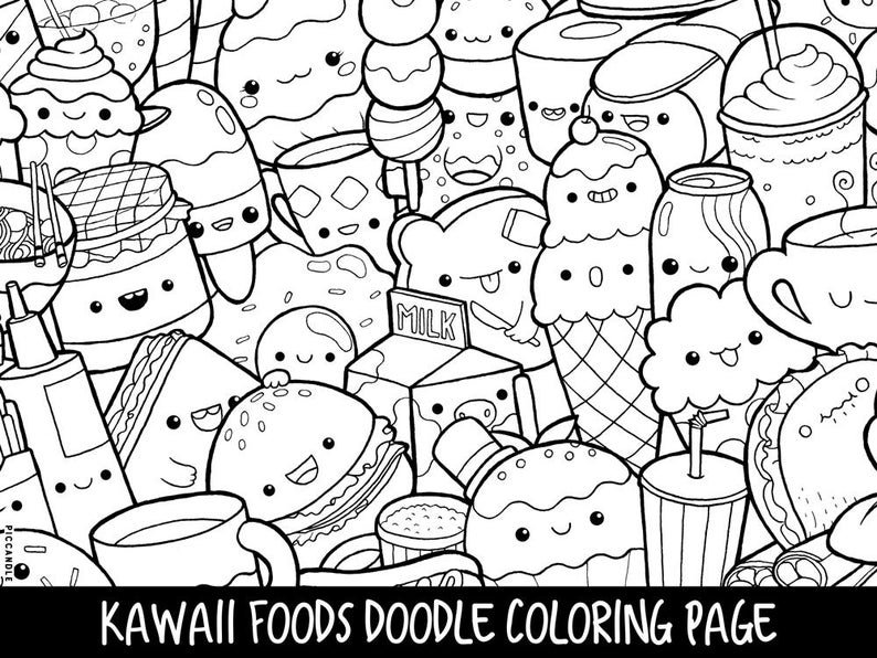 Foods Doodle Coloring Page Printable Cute Kawaii Coloring Etsy In 2020 Unicorn Coloring Pages Food Coloring Pages Doodle Coloring