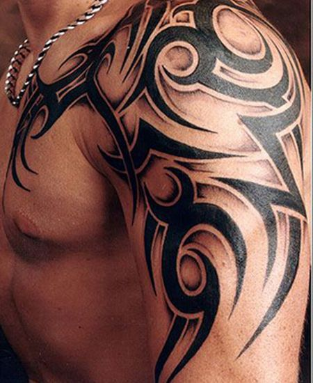 Man Left Shoulder Tribal Tattoo Tribals Tattoos Tribal Tattoos