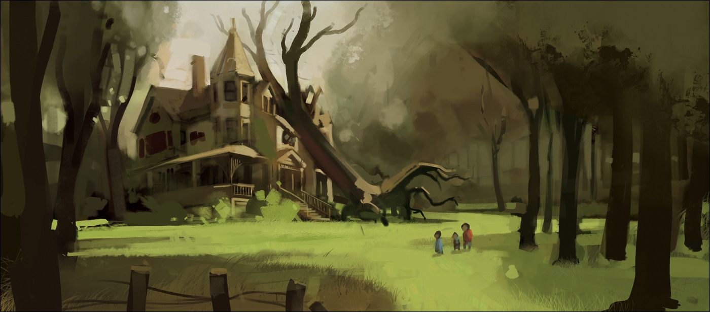 Old Mansion In Woods Painting