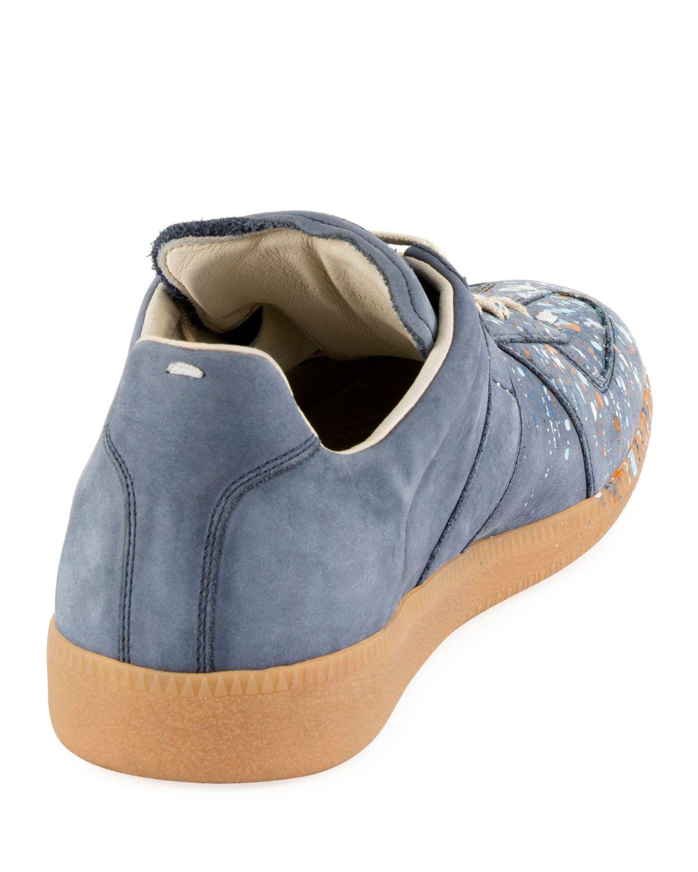 d0e6fca266817 Maison Margiela Replica Paint-Splatter Suede Low-Top Sneaker