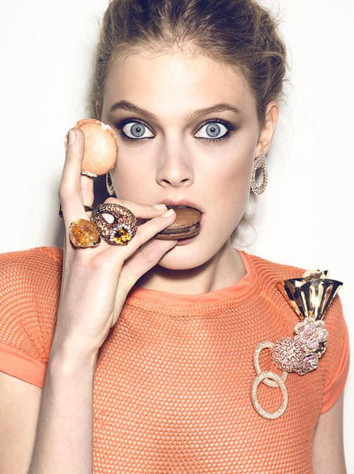 If i lived in nyc this would be me scarfing down macarons at the all you can eat constance jablonski by henrique gendre vogue brazil august 2011 ccuart Image collections