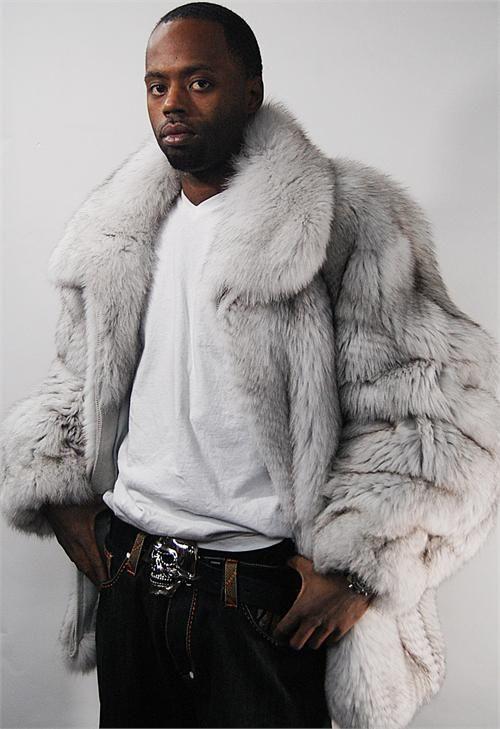 www.hiphopcloset.com Mens Genuine Full Skin white Fox Fur Coat ...