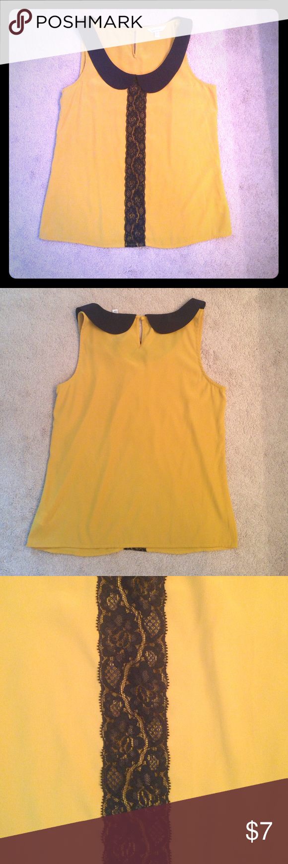 Mustard yellow tank with navy blue lace this tank is mustard yellow