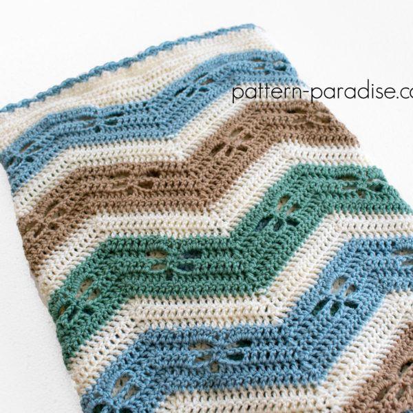 Free Crochet Pattern Dragonfly Chevron Baby Blanket On Pattern