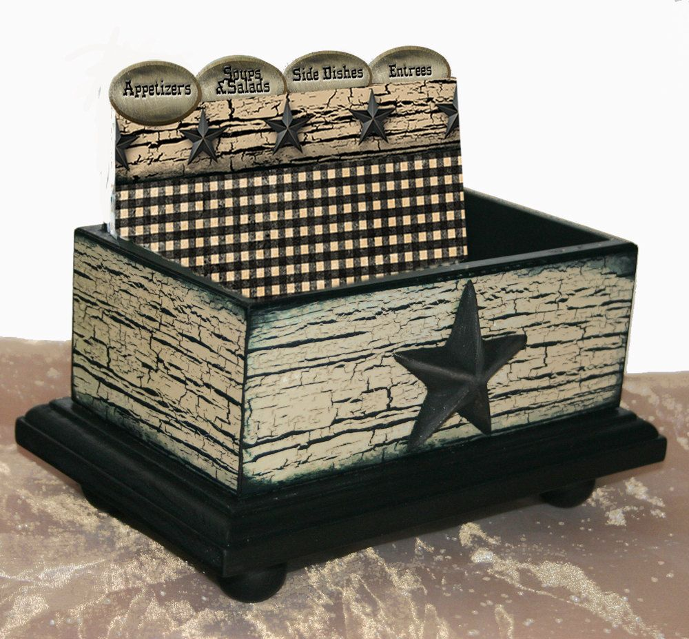 Open Recipe Box Texas Star Crackled 4 x 6 by NandJDesigns on Etsy, $39.99