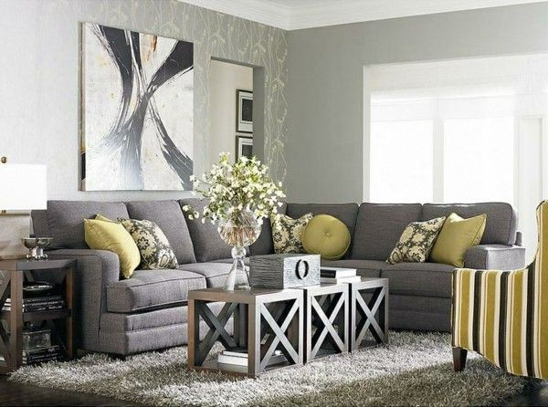 Modern Living Room Design Grays Attractive Color Combination