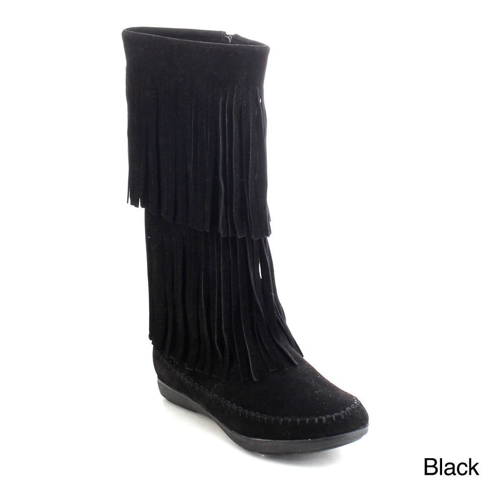 Refresh Jolin-07 Women's Zip Fringe Moccasin Boots
