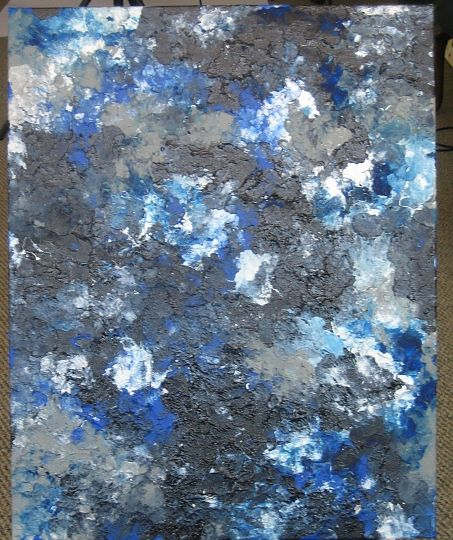 Blue Silver White And Grey Airbrush Acrylic On Canvas In