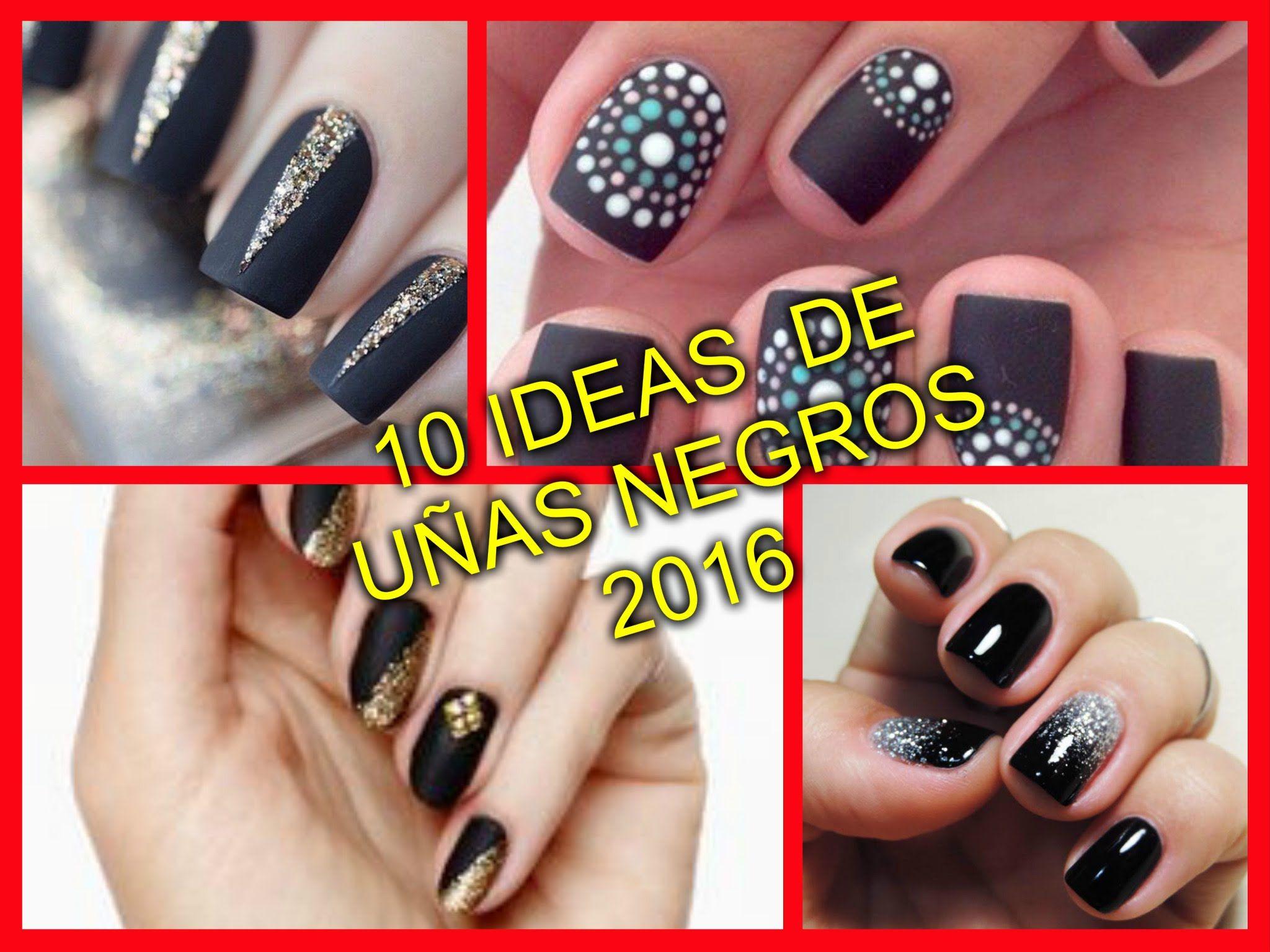 10 ELEGANTES DISEÑOS DE UÑAS NEGROS 2016 | Diseños de uñas | Pinterest