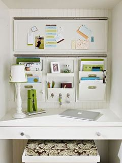 perfect organization: Set up a command central or mail sorting system somewhere in your home.  This space will serve to corral all the bills, mail, and other paper related information that comes in daily. Set aside a specific time each week to respond to and file documents where necessary.   {*note* a command central could even be set up in something as small as a simple file box}