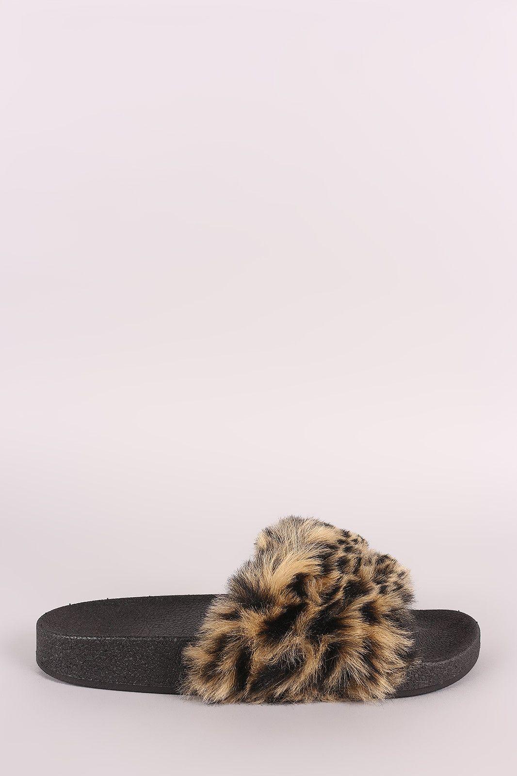 4a76c5a59d7e Qupid Fuzzy Leopard Faux Fur Slide Sandal