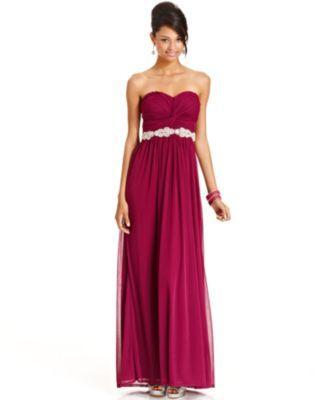 City Studios Juniors Dress, Strapless Rhinestone Gown | macys.com ...