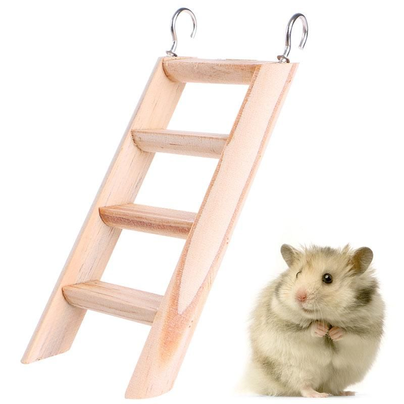 Natural Wood Small Animal Toys Hamster Chew Toys Wooden Hanging Climbing Ladder For Small Pet Mouse Rat Mice Exercise Supplies Pet Mice Hamster Small Pets