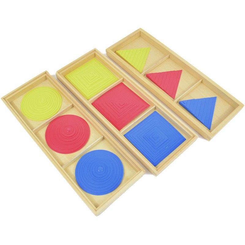 Set De 3 Cajas De Madera Con Compartimentos Para Formas