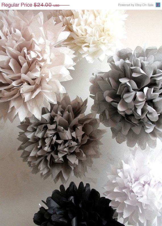 12 Tissue Paper Wedding Decorations // pompoms // tissue pom // party decorations // ceremony decor // anniversary // graduation