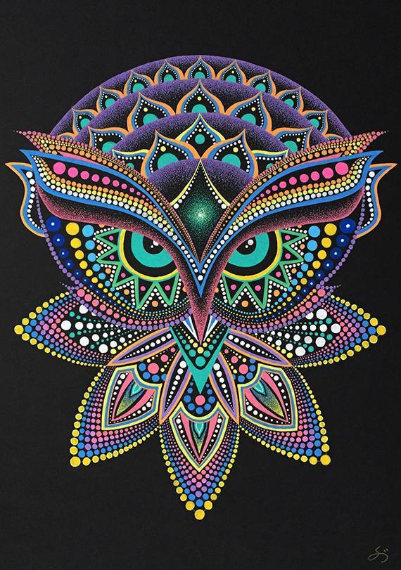 Instant Download Printable Art Owl Mandala Etsy Dot Art Painting Dots Art Mandala Wall Art