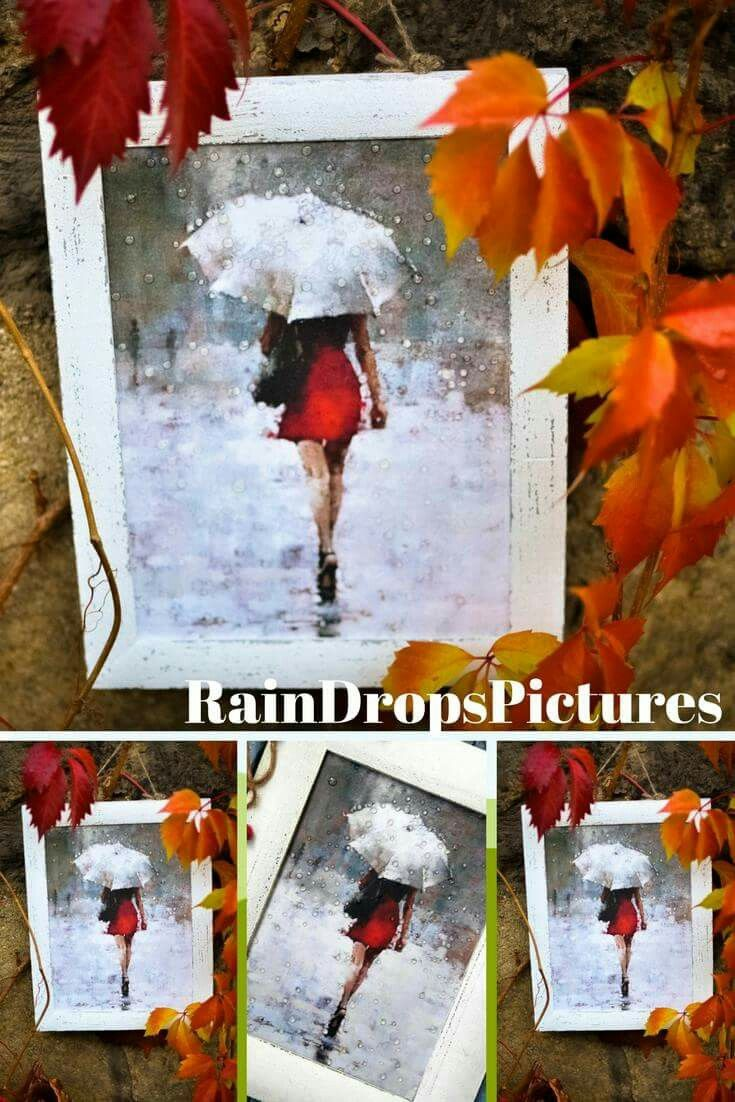 Lady In Red Dorm Room Decor Decoupage Picture Umbrella Office Gift Water Drop Effect No Gl Painting Rain Drops Wall College