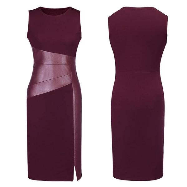 Photo of Sexy Women Sleeveless Patchwork PU Leather Dress …