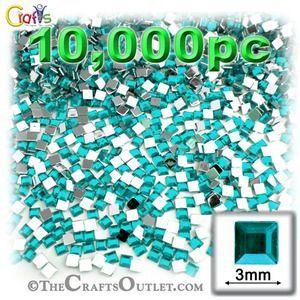 10000-pc Acrylic Flatback Square Rhinestones 3mm Aqua Blue