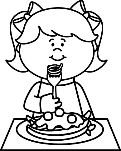 Eating Clipart Black And White : eating, clipart, black, white, Black, White, Eating, Spaghetti, Image, Clipart,, Children
