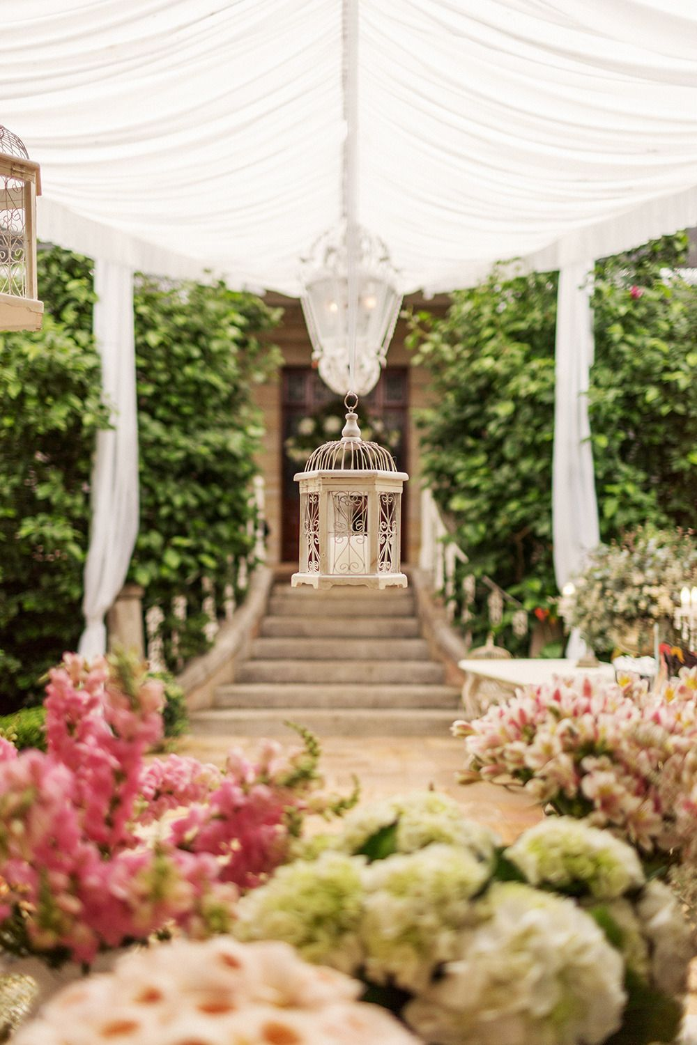 Wedding decorations outside house  Romantic Garden Wedding at the James Terrara House  Flowers I love