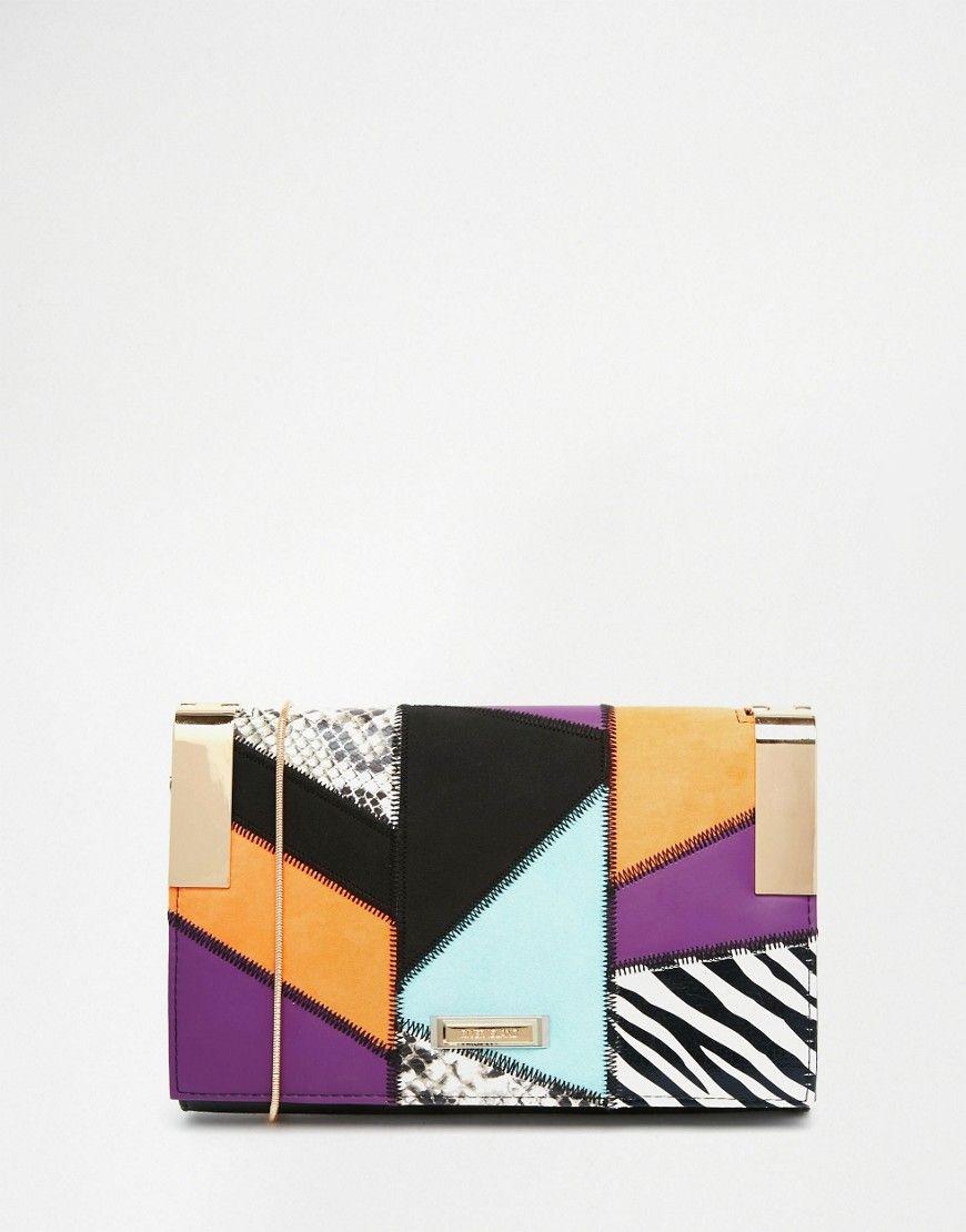 Image 1 ofRiver Island Mixed Print Clutch Bag