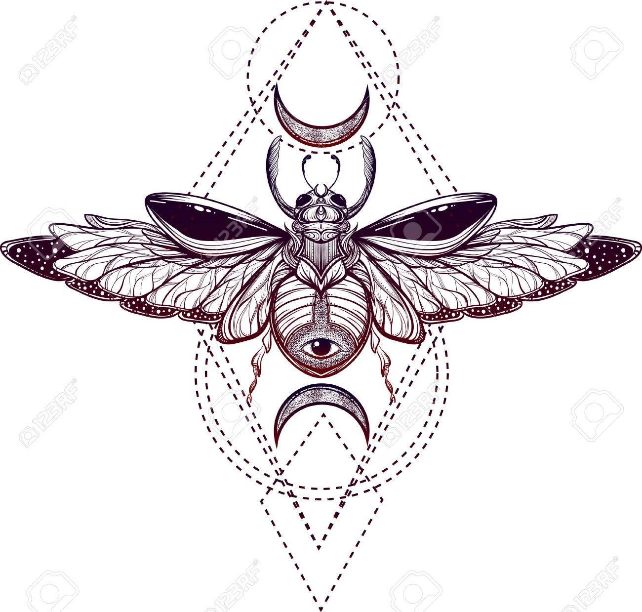 Znalezione Obrazy Dla Zapytania Tatuaż Skarabeusz I ćma