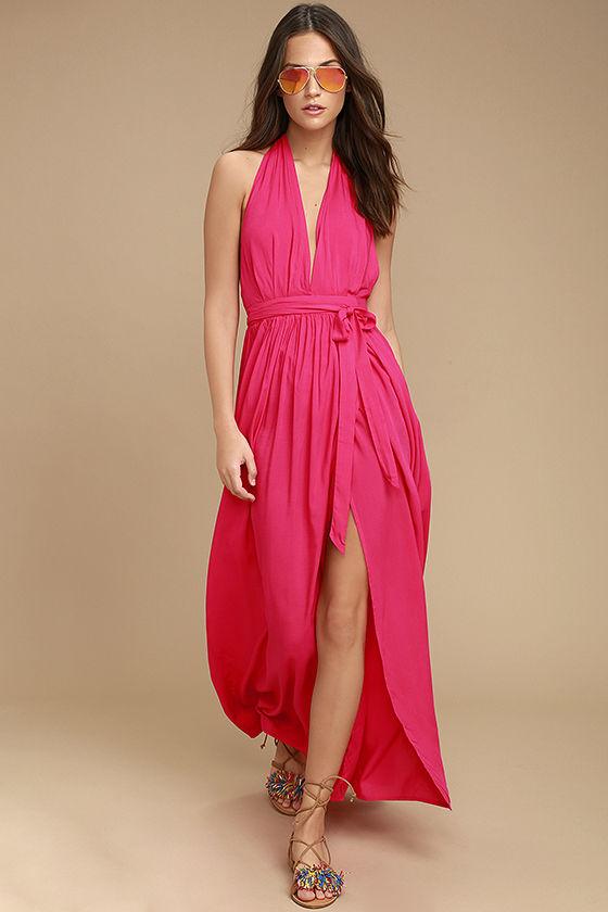 Magical Movement Hot Pink Wrap Maxi Dress Best Maxi Dresses Maxi Dress Cute Maxi Dress