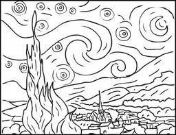Notte Stellata Van Gogh Disegni Da Colorare Arte Famosa Disegni Da Colorare Astratti