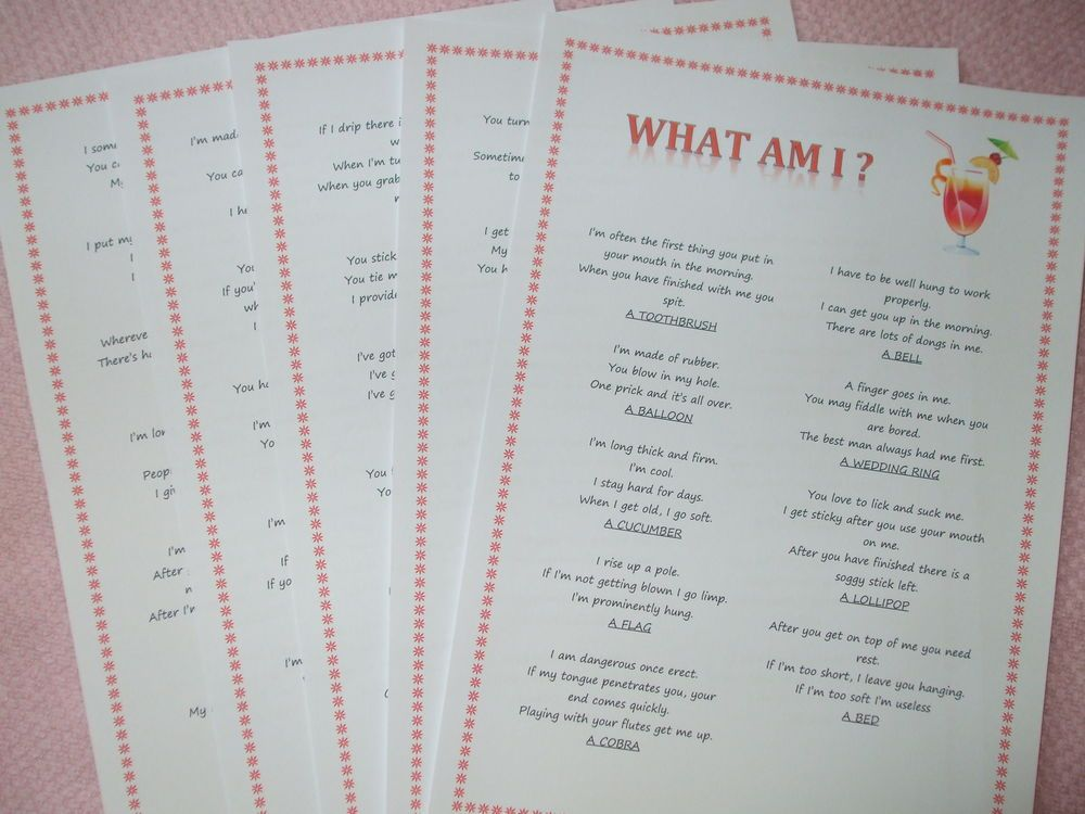What Am I? Hen Night Party Games. Drinking Game