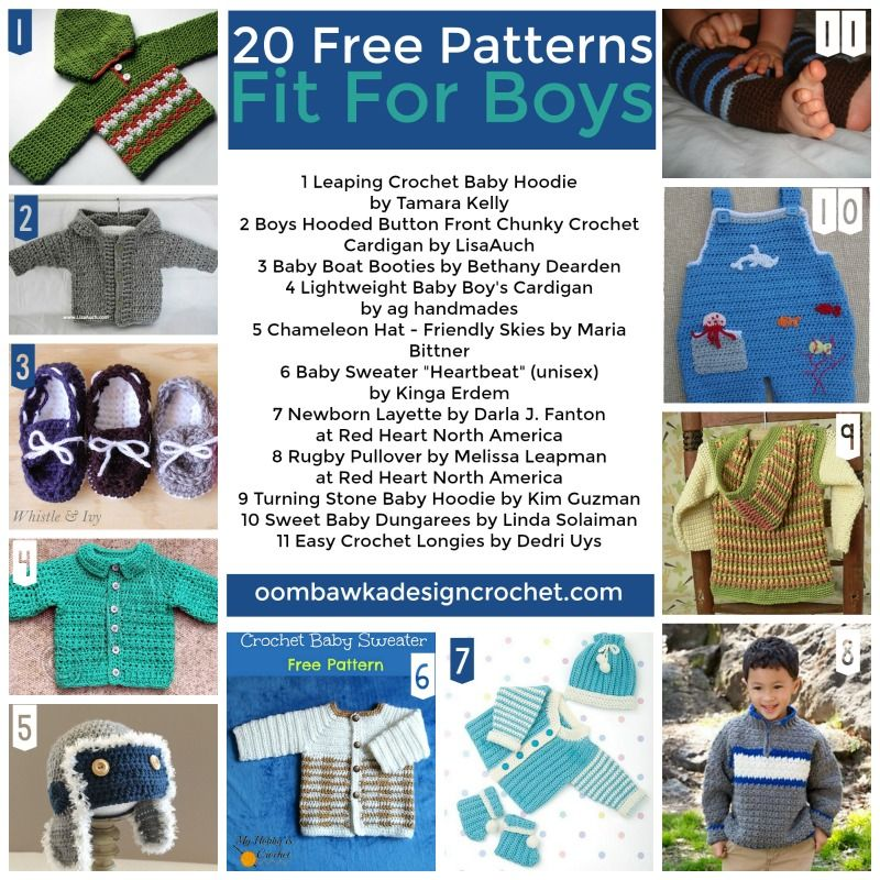 68ddb7cbf16c0 Free Pattern Friday! 20 Free Crochet Patterns Fit For Boys! From Sweaters  to dungarees