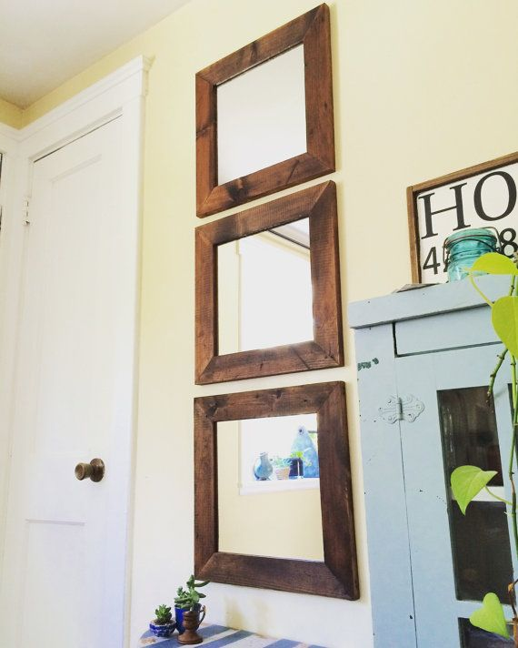 Reclaimed wood mirrors Set of 3 by jdrubicon06 on Etsy
