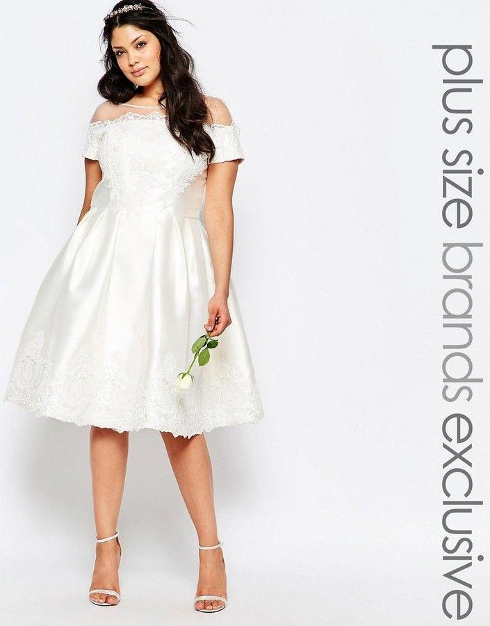 Chi Chi Plus Chi Chi London Plus Bridal Midi Dress, Wedding Dresses ...