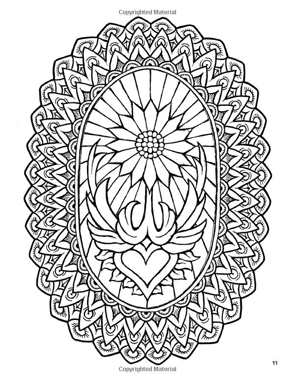 Fantasy flowers coloring book no 1 24 designs in elaborate oval Crown Coloring Page Elaborate Heart Coloring Page Elaborate Reindeer Head Coloring Page Elaborate