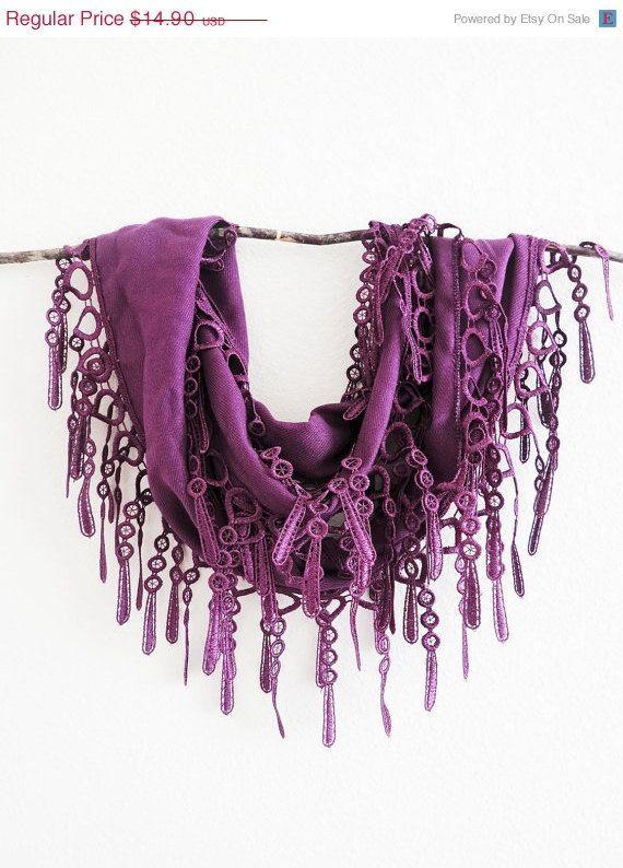 Summer Sale Palatinate Purple Pashmina Lace Scarf by SistersLace, $13.26